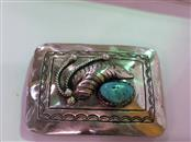 Synthetic Turquoise Silver-Stone Belt Buckle 925 Silver 45g